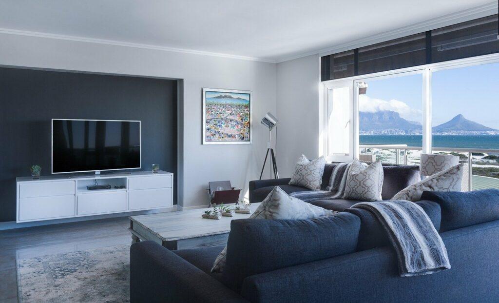 modern minimalist lounge, sea view, window